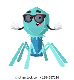 cartoon bacteriophage cell character mascot in black sunglasses on a white background