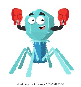 cartoon bacteriophage cell mascot in red boxing gloves on white background