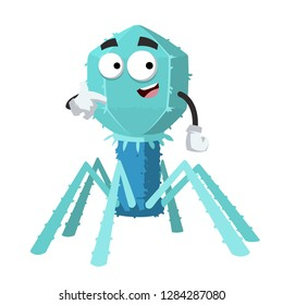 cartoon bacteriophage cell mascot showing himself on a white background isolated