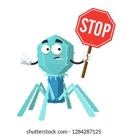 cartoon bacteriophage cell mascot with tablet stop in hand on white background