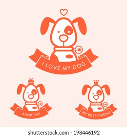 Cartoon badge character dog. Inscription I love my dog. Adopt me. My best friend.