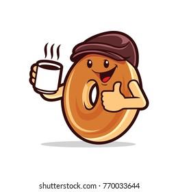 Cartoon bagel thumbs up drinking coffee.