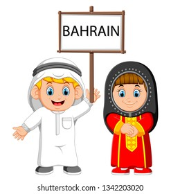 Cartoon bahrain couple wearing traditional costumes