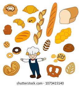 Cartoon of baker and french style bakery product set: baguette, butter croissant, chocolate croissant, bread loaf, pretzel, buns, donuts, cookie, brioche, rye bread, crown, Challah, leaf shaped bread.