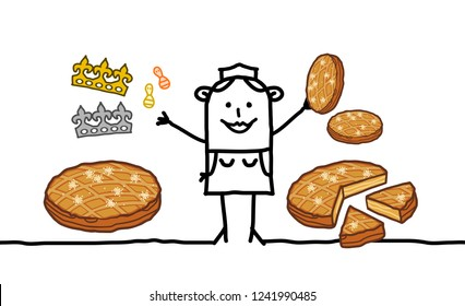Cartoon Baker Woman selling Epiphany Cakes