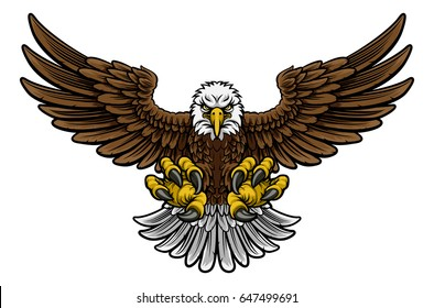 A cartoon bald American eagle mascot swooping with claws out and wings outstretched spread