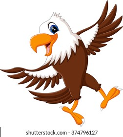 Cartoon bald eagle standing with wings extended