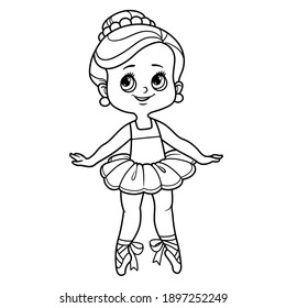 Cartoon ballerina girl dance in tutu outlined for coloring isolated on a white background