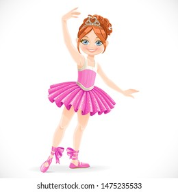 Cartoon ballerina girl in pink dress dancing on a white background