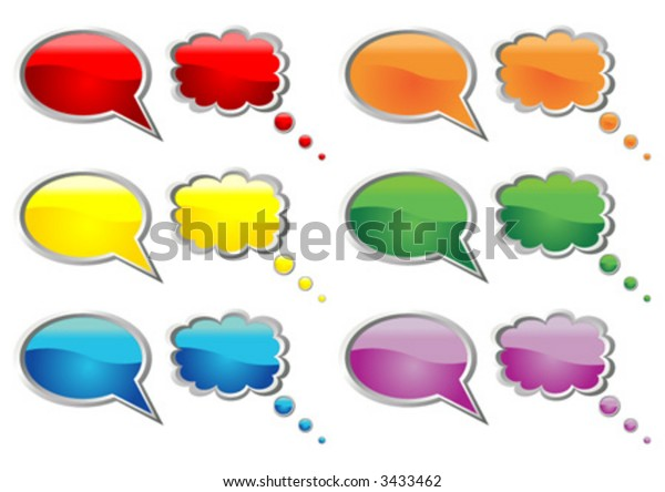 Cartoon balloons. Talking bubbles of six different colors over white background.