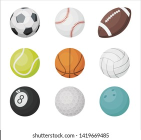 Cartoon balls vector set. Sport balls icons: volleyball, basketball, football, golf, american football, bowling isolated on white background.