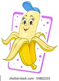 Cartoon Banana - Clip Art Illustration