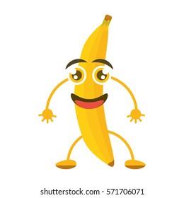 cartoon banana tasty organic vector illustration eps 10