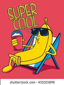 Cartoon banana vector character, milkshake
