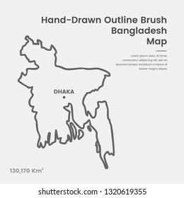 Cartoon Bangladesh Map, Hand Drawn Bangladesh Map, Doodle Bangladesh Map Vector Outline Style Map Information