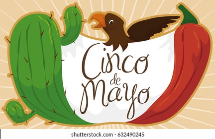 Cartoon banner with traditional and festive elements forming Mexican flag, to celebrate Cinco de Mayo (written in Spanish): cactus, chili pepper, fabric and eagle.