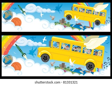 Cartoon banner in two versions, differing only in the proportions. You can extend the white part of the clouds downwards as much as you need.