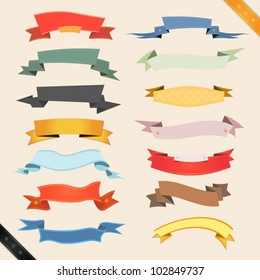 Cartoon Banners And Ribbons/ Illustration of a set of various colored banners, origami, ribbons, swirls and scrolls  to use as ornaments