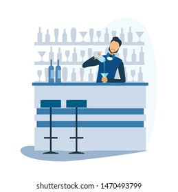 Cartoon Barman Prepare Alcoholic Cocktail at Bar. Bartender Standing at Counter, Mixing Ingredient and Pouring Ready Drink in Glass. Night Club, Restaurant Staff at Work. Vector Flat Illustration