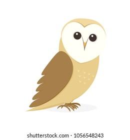 Cartoon Barn Owl. Clipart image isolated on white background