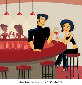 Cartoon of bartender pouring a drink