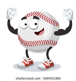 cartoon baseball ball mascot shows its strength on a white background