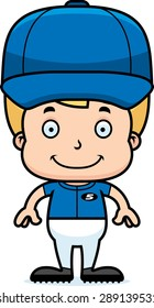 A cartoon baseball player boy smiling.