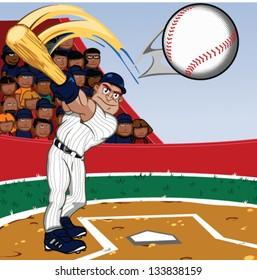 Cartoon Baseball player swinging a big bat in stadium