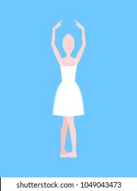 Cartoon Basic Ballet Classical Dance Second Position White Silhouette Woman on a Blue Background. Vector illustration