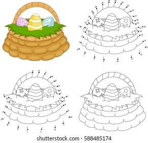 Cartoon basket with Easter eggs. Coloring book and dot to dot educational game for kids