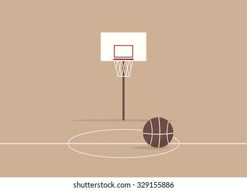 Cartoon basketball court