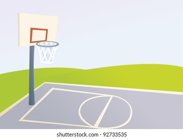 Cartoon basketball court