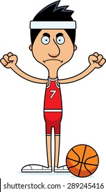 A cartoon basketball player man looking angry.