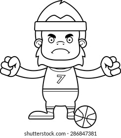 A cartoon basketball player sasquatch looking angry.