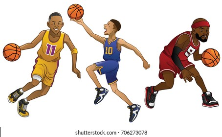 cartoon of basketball players in set