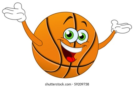 Cartoon basketball raising his hands