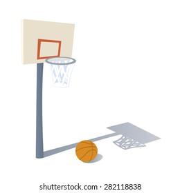 Cartoon Basketball Ring with Basketball
