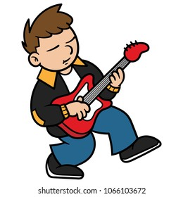 Cartoon Bass Guitar Player