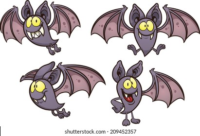 Cartoon bat in different poses. Vector clip art illustration with simple gradients. Each on a separate layer.
