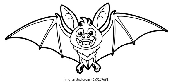 Cartoon Bat Line Art