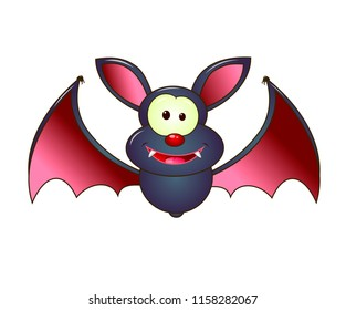Cartoon bat on white background. The gray bat is a vampire.