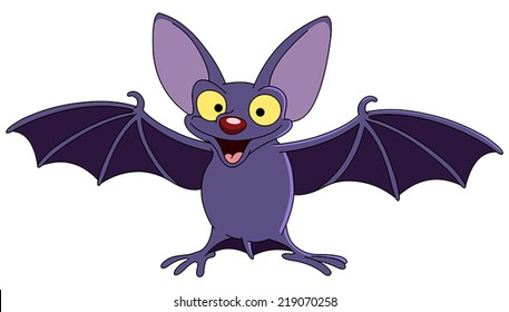 Cartoon bat spreading his wings