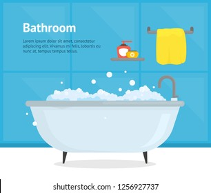 Cartoon Bathroom Bathtub Card Inside Interior Poster Relax Concept Element Flat Design Style. Vector illustration of Bathing