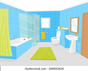 Cartoon Bathroom Interior with Furniture Card Poster Include of Shower, Mirror, Sink, Bath, Faucet and Towel. Vector illustration