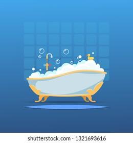 Cartoon bathtub. Bath bubble foam bathroom flat interior shower hot water cute wash duck. Vector bathroom with full bath interior
