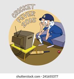 Cartoon of a batsman in uniform watching match on tv for cricket fever 2015 concept.