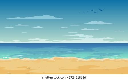 Cartoon beach landscape summer background