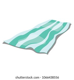 Cartoon beach litter on a white background. Illustration of a lying blanket. Drawing for children.