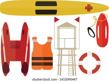 Cartoon beach rescuer color pack set summer boat station help lifeguard