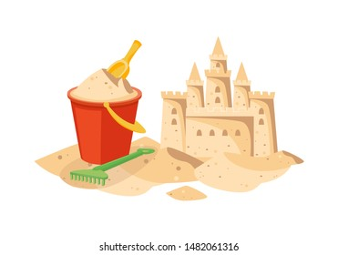 Cartoon beach sandcastle and red plastic bucket filled with sand - yellow shovel and green rake lying next to cute castle, children's summer toys - isolated vector illustration